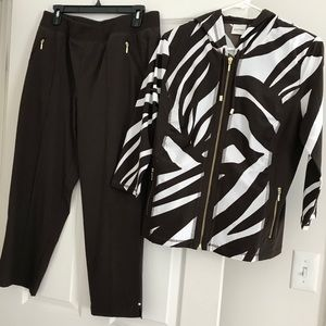 Hooded zip top with matching crop pants